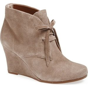 Dolce Vita Pellie Lace-Up Suede Taupe Wedge Bootie